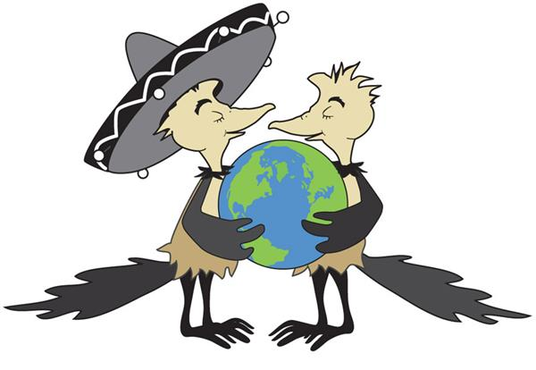 Two roadrunners holding a globe