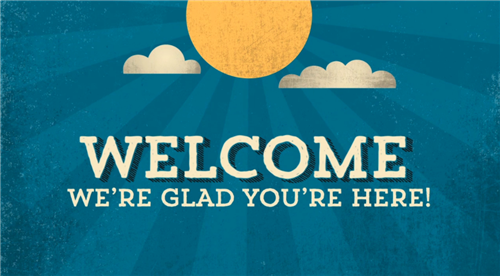 Welcome graphic; sunshine and blue skies
