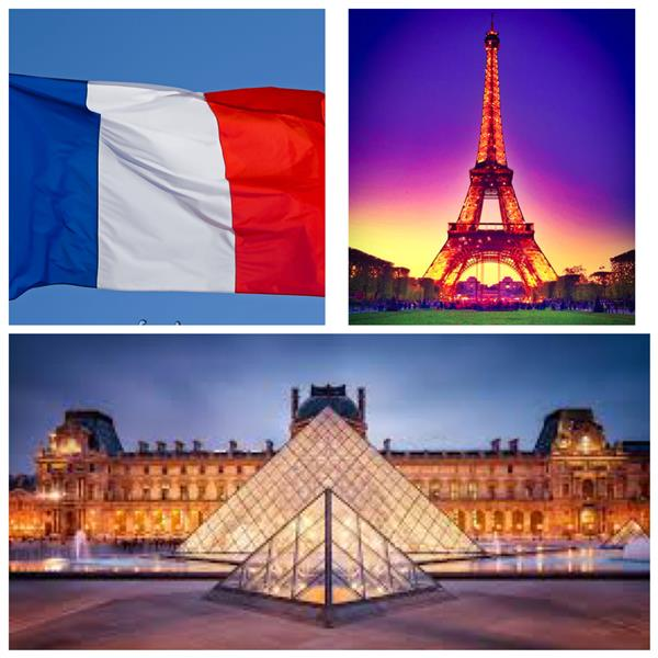 Collage (The French flag, the Eiffel Tower, and the Louvre)