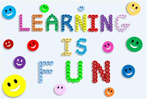 text learning is fun made out of smiley face buttons