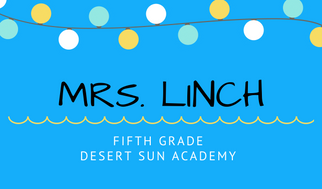 Business card picture of Mrs. Linch's name and grade level taught.